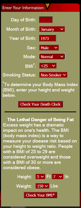 """A picture of Death clock website to better elaborate """"Is Death Clock Accurate?"""""""
