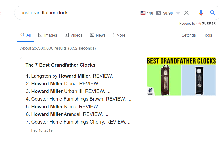 """A picture showing the google result of """"best grandfather clock"""" to better answer """" How To Determine The Age Of A Howard Miller Clock? """""""